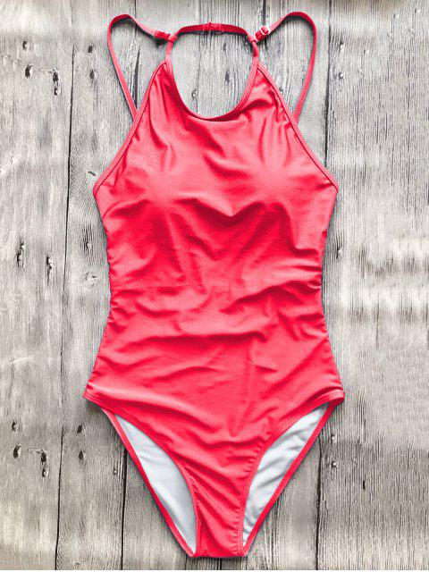 sale Open Back High Neck One Piece Swimsuit - RED S Mobile