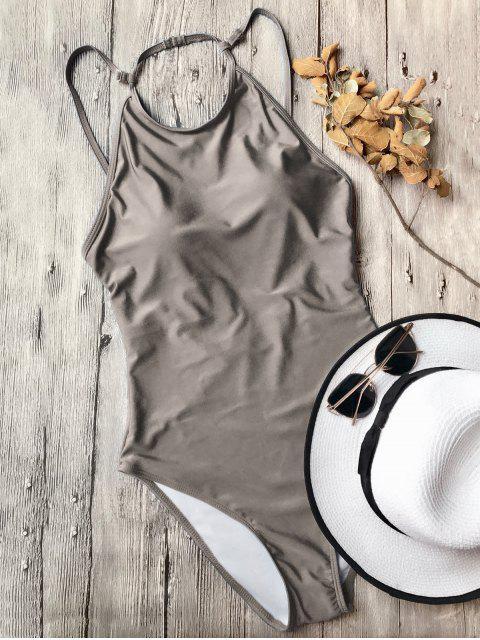 Rückenfreier Hoher Hals Einteiliger Badeanzug - Khaki M Mobile