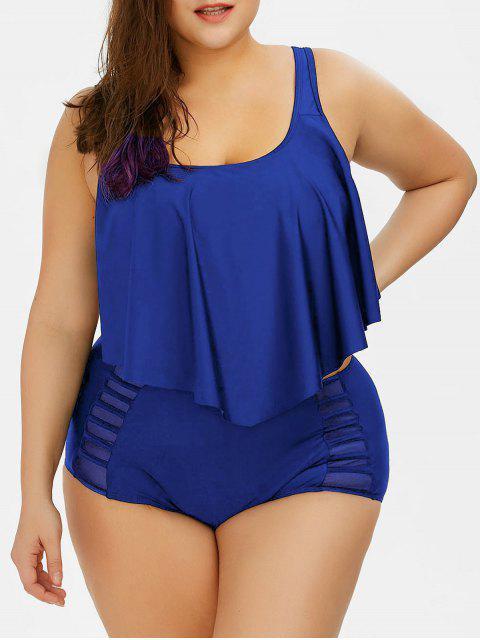 Bikini de talle alto con cintura alta y estampado floral - Azul Zafiro 5XL Mobile