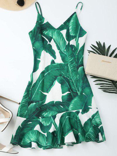 Tropical Print Ruffle Slip Summer Dress - Green L