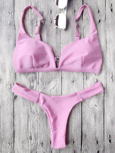 Padded Plunge High Cut Bikini Set - Rose PÂle
