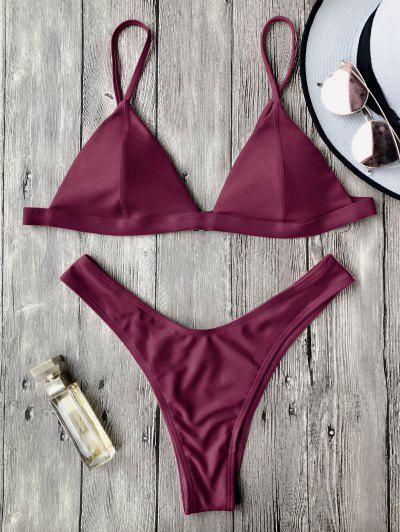 Spaghetti Straps Padded Thong Bikini Set - Burgundy S