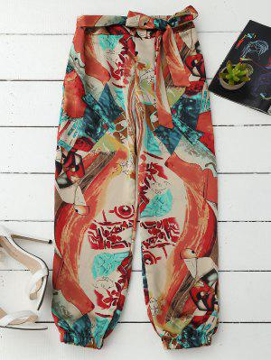 Tie Front Abstract Print Beach Pants - L