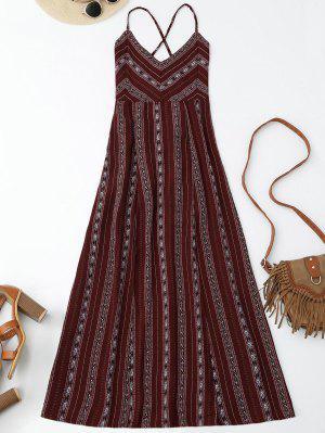 Slit Stripe Lace Up Backless Maxi Dress - Wine Red L