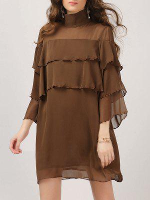 Layered Ruffles Casual Dress - Dark Coffee 2xl