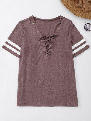 Lace Up T-Shirt With Stripe - Begonia M