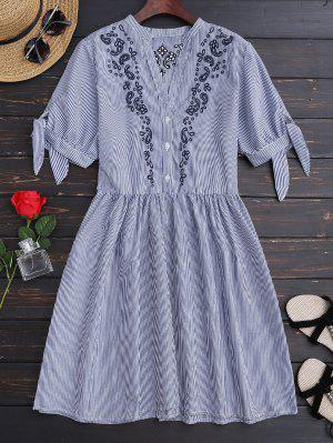 Stripes Embroidered Casual Dress - Stripe L