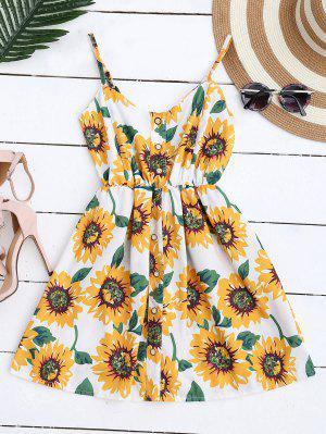 Mini Vestido Floral de Bata con Tirantes Finos con Botones