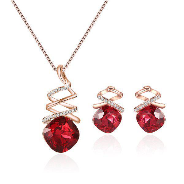 Faux Ruby Pendentif en strass Ensemble bijoux