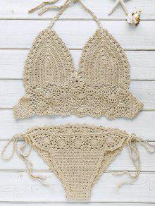 Halter Handwork Crochet Bathing Suit - Khaki