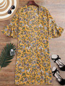 Kimono Envuelto De Flores Minúsculos Con Abertura Con Manga En Forma De Campanilla - Amarillo