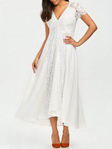 Front Zippered Lace Panel Maxi Dress - White S