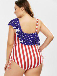 53706ed06bc ... American Flag Print Ruffle Plus Size One-piece Patriotic Swimwear