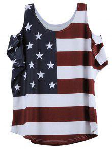 تعثر العلم الأميركي نمط الباردة الكتف تي شيرت - نبيذ أحمر M