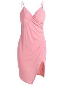 Spaghetti Strap Ruched Asymmetric Bodycon Dress - Pink M