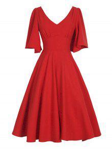 V فستان سوينغ كلاسيكي الرقبة - أحمر M