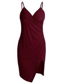 Spaghetti Strap Ruched Asymmetric Bodycon Dress - Wine Red Xl
