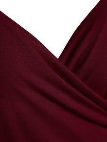 Xl Vino 233;trico 233;trico Espagueti Fruncido Asim Asim Con Vestido De Correa Rojo z6wPqtAx
