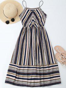 فستان مرونة الخصر معتدد مخطط - L