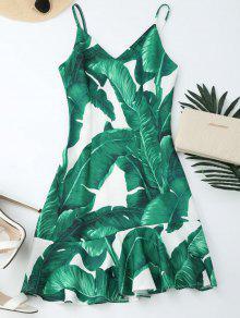 Tropical Print Ruffle Slip Summer Dress - Green M