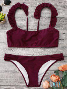 Bikini à Bretelle Plissée Et à Soutient-gorge Sans Armature - Bourgogne L