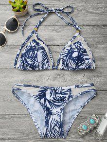 Conjunto De Bikini Halter De Impresión De Hoja De Inserción De Malla - Azul Y Blanco M