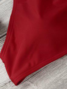 ce68c8c9da7d 10% OFF] 2019 High Neck V Strap Thong Bikini Set In RED   ZAFUL