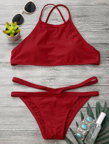High Neck V Strap Thong Bikini Set - Red M