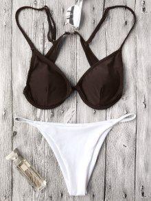 Traje De Bikini Con Relleno Con Escote Pico Con Cordón - Blanco+cafÉ S