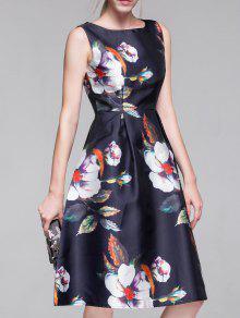 Buy Flared Vintage Dress - PURPLISH BLUE S