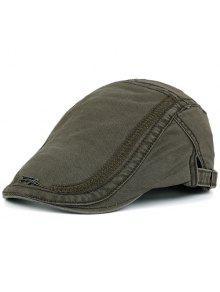 قبعة نيوزبوي مزينة بكتابة معدنية للرجال - الجيش الأخضر