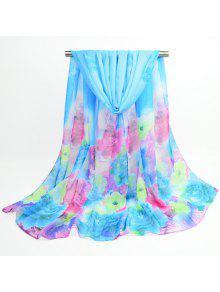 Acuarela Multicolor Flores Impreso Bufanda Chal - Azur