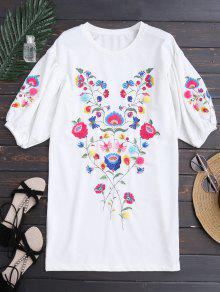 Dolman Sleeve Floral Embroidered Straight Dress - White S