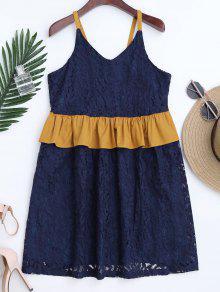 Color Block Ruffles Lace Dress - Purplish Blue M