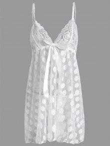 زائد حجم البولكا نقطة شير عارضة اللباس الانزلاق - أبيض 4xl