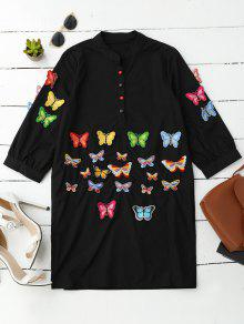 Embroidered Butterfly Tunic Shirt Dress - Black M