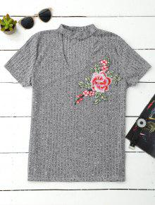Choker Embroidered Flower Ribbed Top - Gray Xl