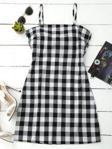 Slip Tie Back Plaid Dress - Black White M