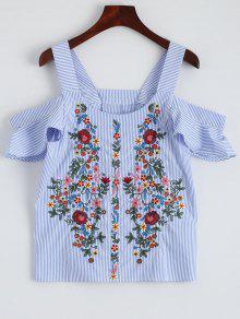 Striped Embroidered Cold Shoulder Top - Stripe L