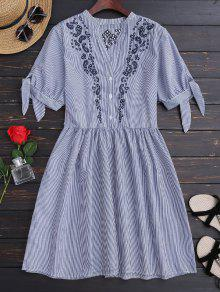 Vestido Casual A Rayas Con Bordado - Raya M