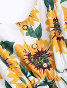 Tirantes Blanco Vestido Con Mini Bata De Floral Finos Con Botones vXwSqOf