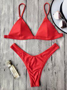 Ensemble De Bikini Paddé à Bretelle Spaghettis  - Rouge L
