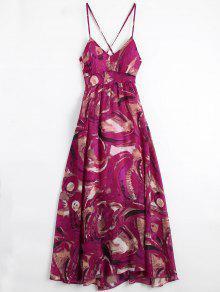 فستان بوهيمي الرباط طباعة محشو عطلة - متعدد الألوان M
