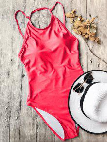 Open Back High Neck One Piece Swimsuit - Red L