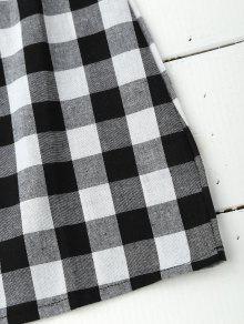 8cd4a164b85 24% OFF] 2019 Slip Tie Back Plaid Dress In BLACK WHITE   ZAFUL