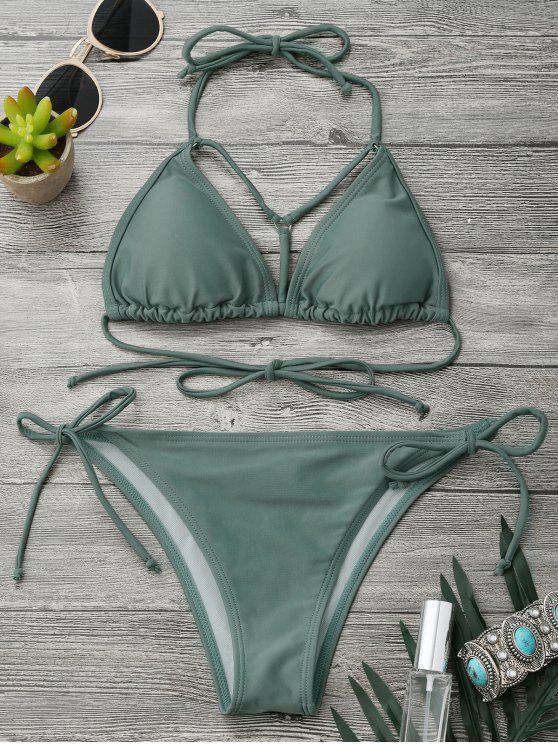 shop Halter Strappy Front String Bikini Set - ARMY GREEN L