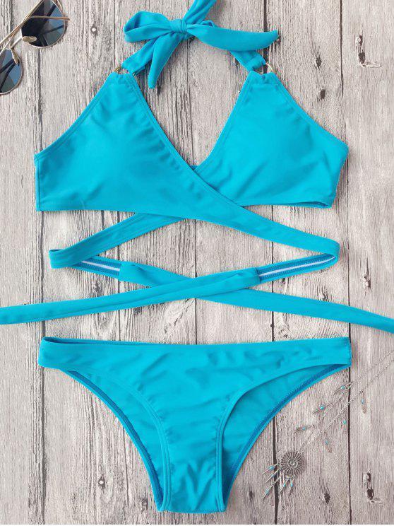 hot Low Cut Halter Wrap Bikini - SKY BLUE S