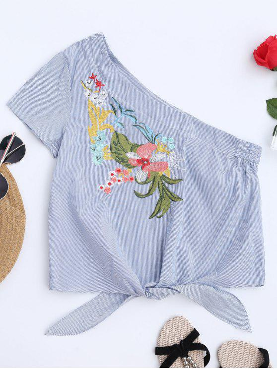 fashion Striped Embroidered One Shoulder Top - STRIPE S