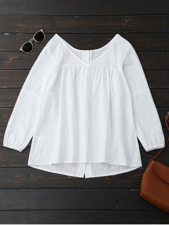 women V Neck Back Button Up Peasant Top - WHITE L