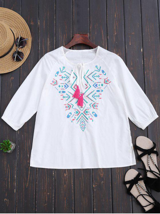 ladies Ralgan Sleeve Embroidered Blouse - WHITE L